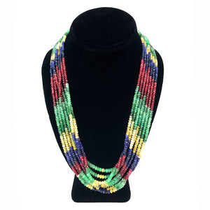 Vintage 7 Strand Emerald, Ruby, & Sapphire Bead Necklace