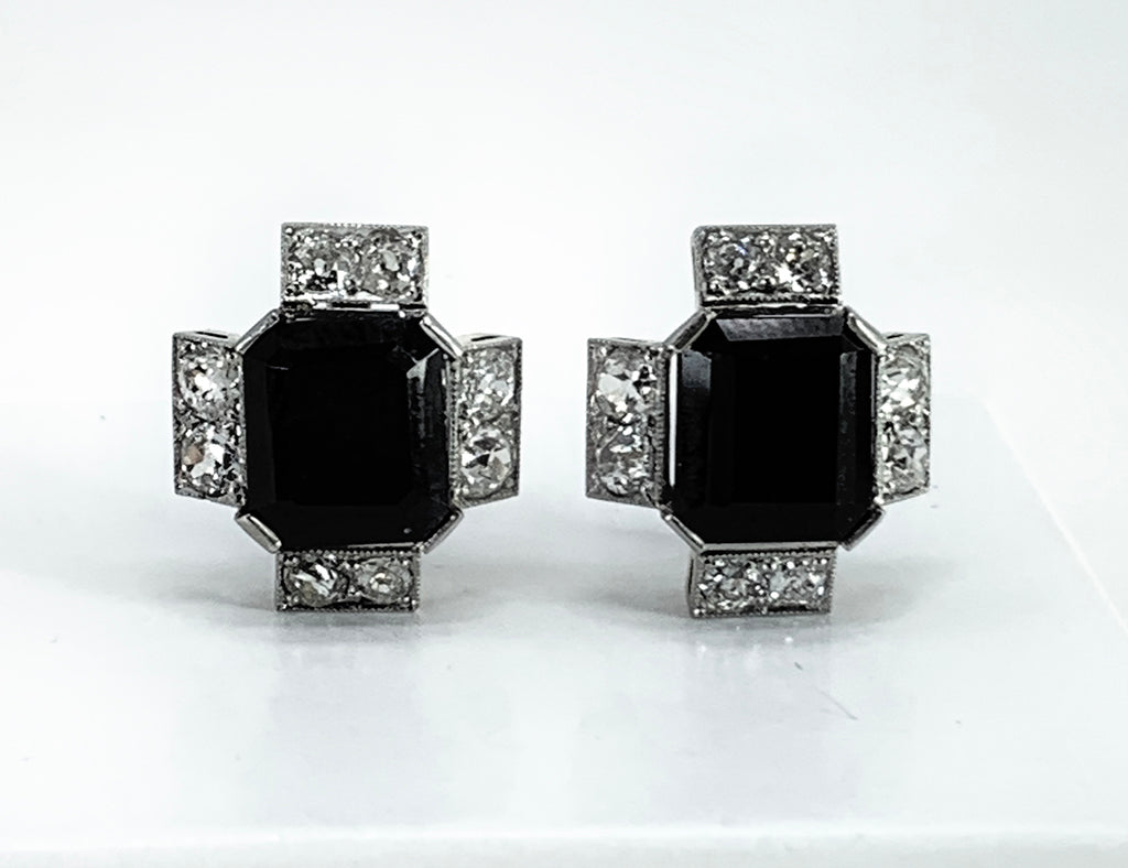 GORGEOUS Onyx & Diamond 14K Two-Tone Gold Earrings