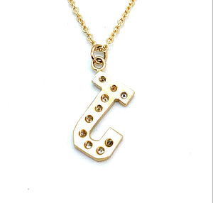 14K Yellow Gold 0.10ctw Diamond 'J' Pendant Necklace