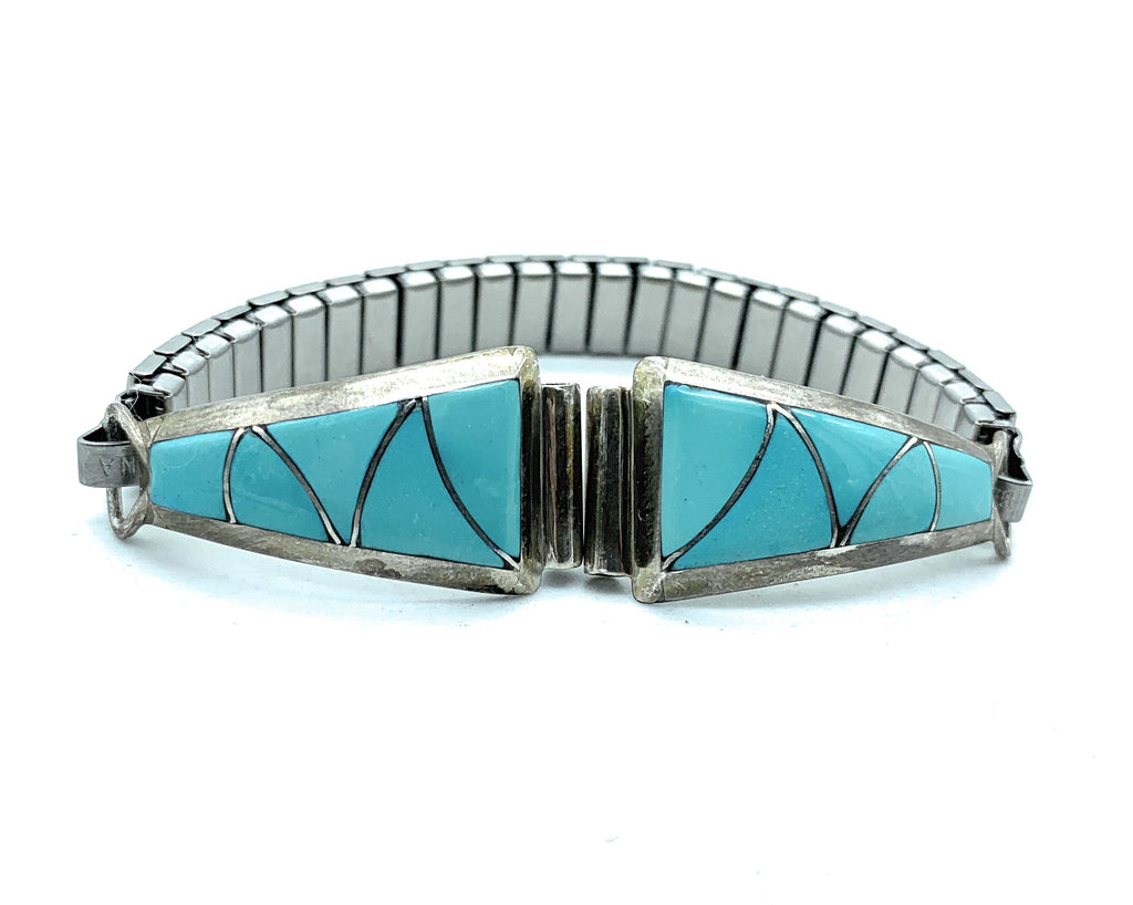 Vintage Old Pawn Zuni Sterling Silver Turquoise Inlay Watch Tips