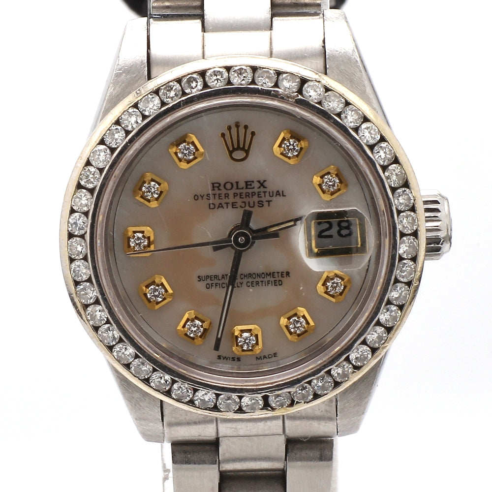 ROLEX 18K & Stainless Steel DateJust MOP Diamond Bezel Ladies Watch