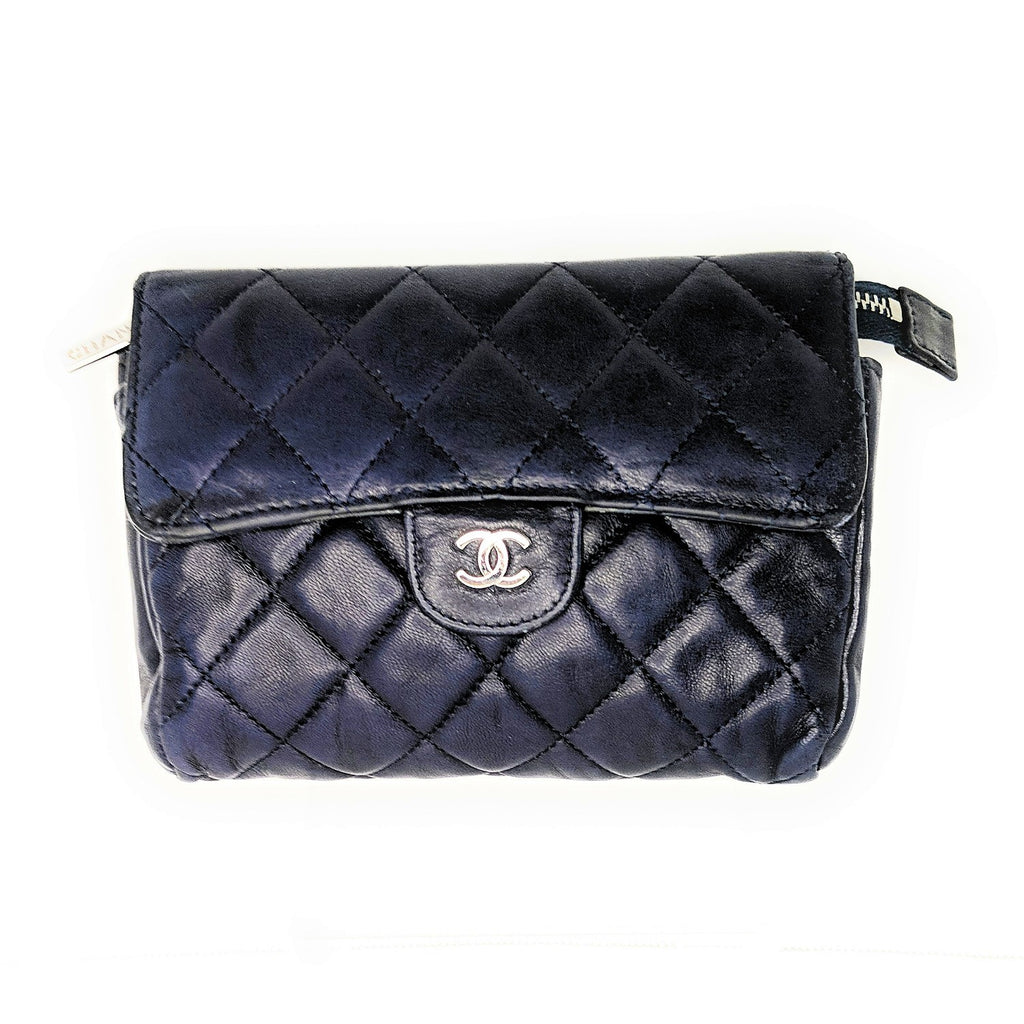 Chanel Navy Quilted Flap Cosmetic Case
