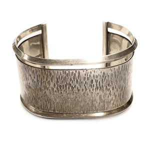 Vintage 1970's Sterling Silver Hammered Finish Wide Cuff Bracelet - Signed