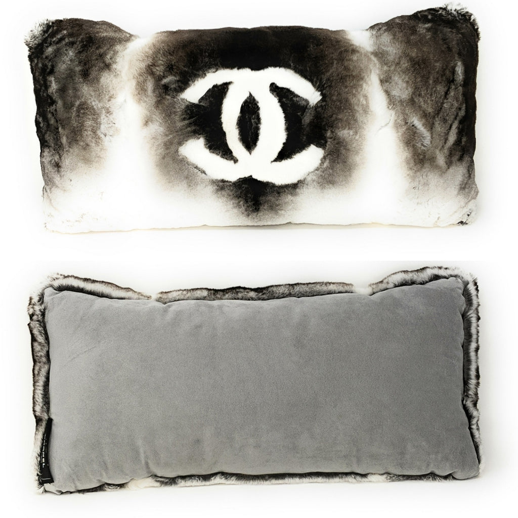 Chanel Orylag Rabbit Fur CC Rectangular Collectible Decorative Throw Pillow + Dust Cover