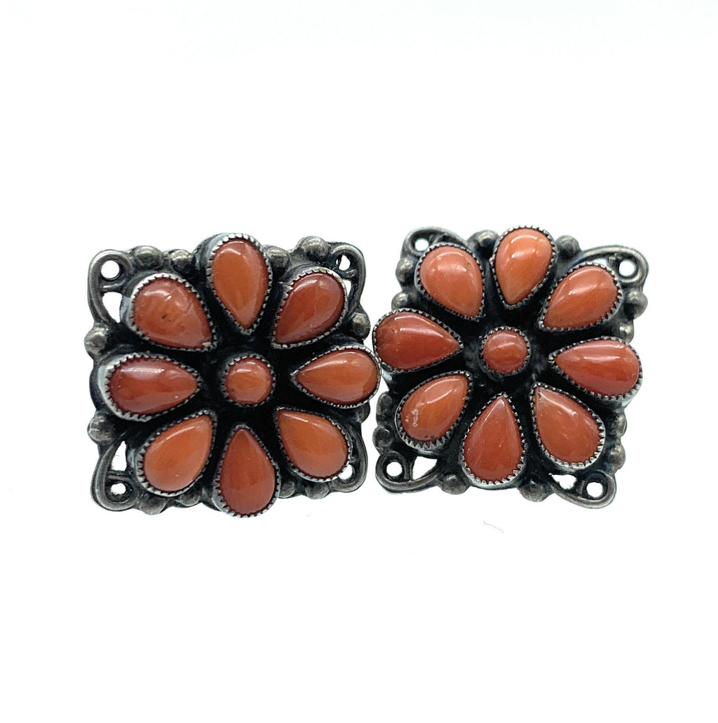 Vintage Old Pawn Zuni Sterling Silver Petit Point Oxblood Coral Earrings - Signed