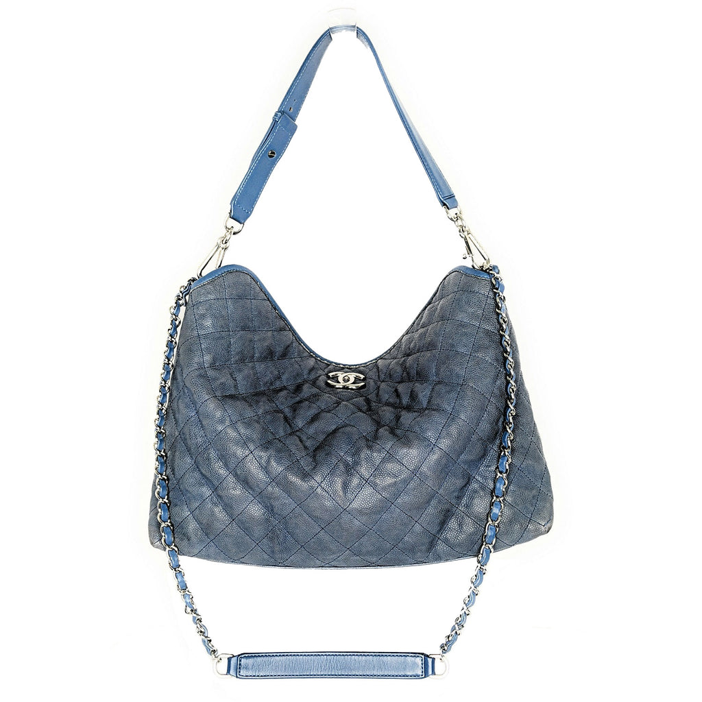 Chanel Slate Blue Caviar Leather French Riviera Hobo