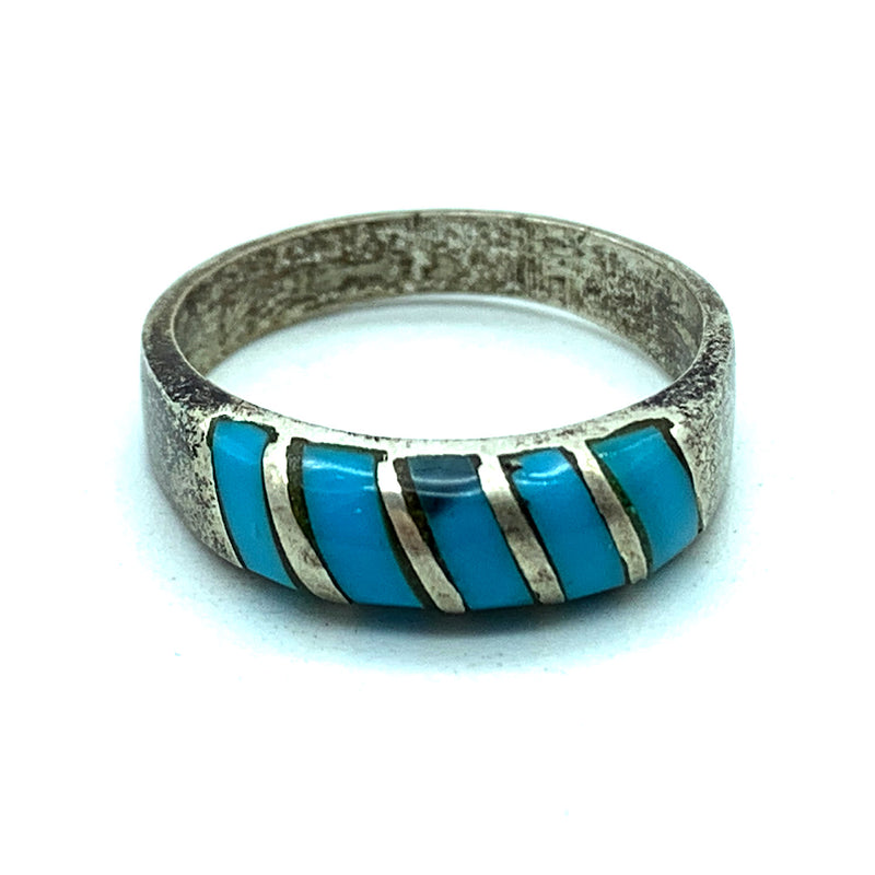 Vintage 1960's Sterling Silver & Turquoise Inlay Ring - Sz. 3.75