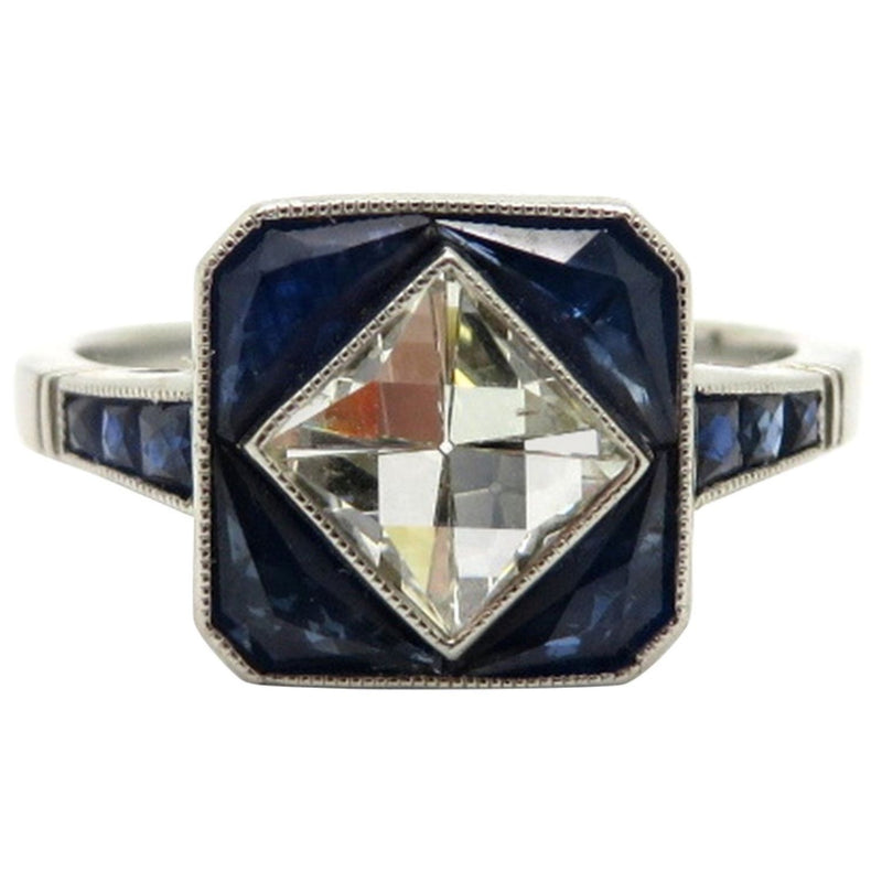 Platinum Art Deco Style French Cut Diamond and Sapphire Engagement Ring, Size 7.5
