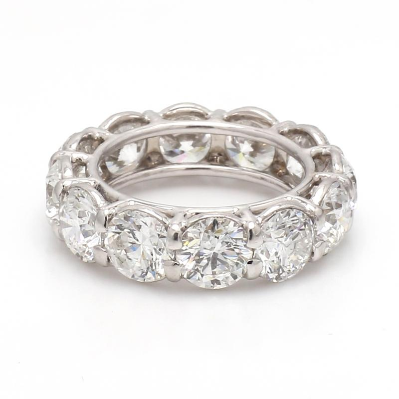 10.86CTW D-F SI1-SI2, ROUND BRILLIANT CUT DIAMOND ETERNITY BAND - GIA CERTIFIED