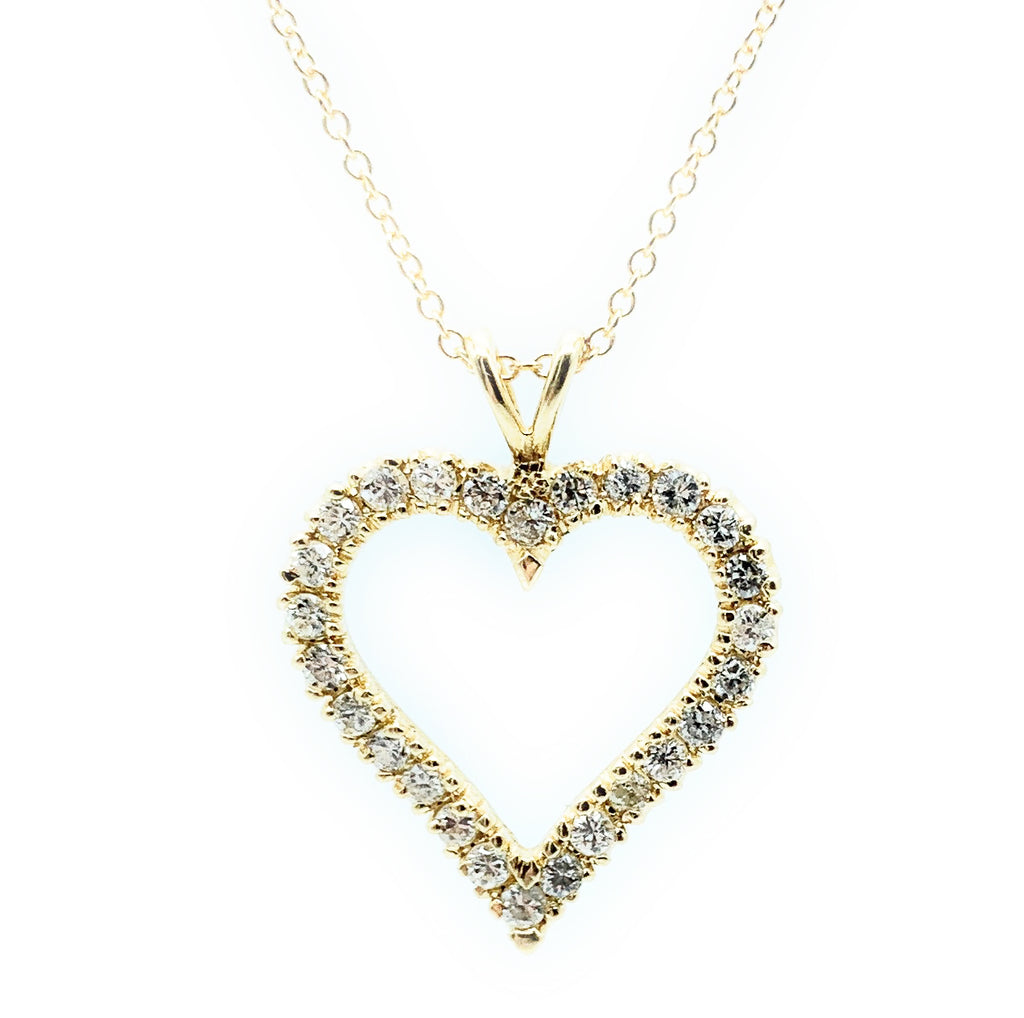 14K Yellow Gold & 0.50ctw Diamond Open Heart Pendant Necklace