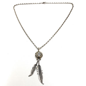 Vintage Navajo Sterling Silver Shield & Feather Pendant Necklace