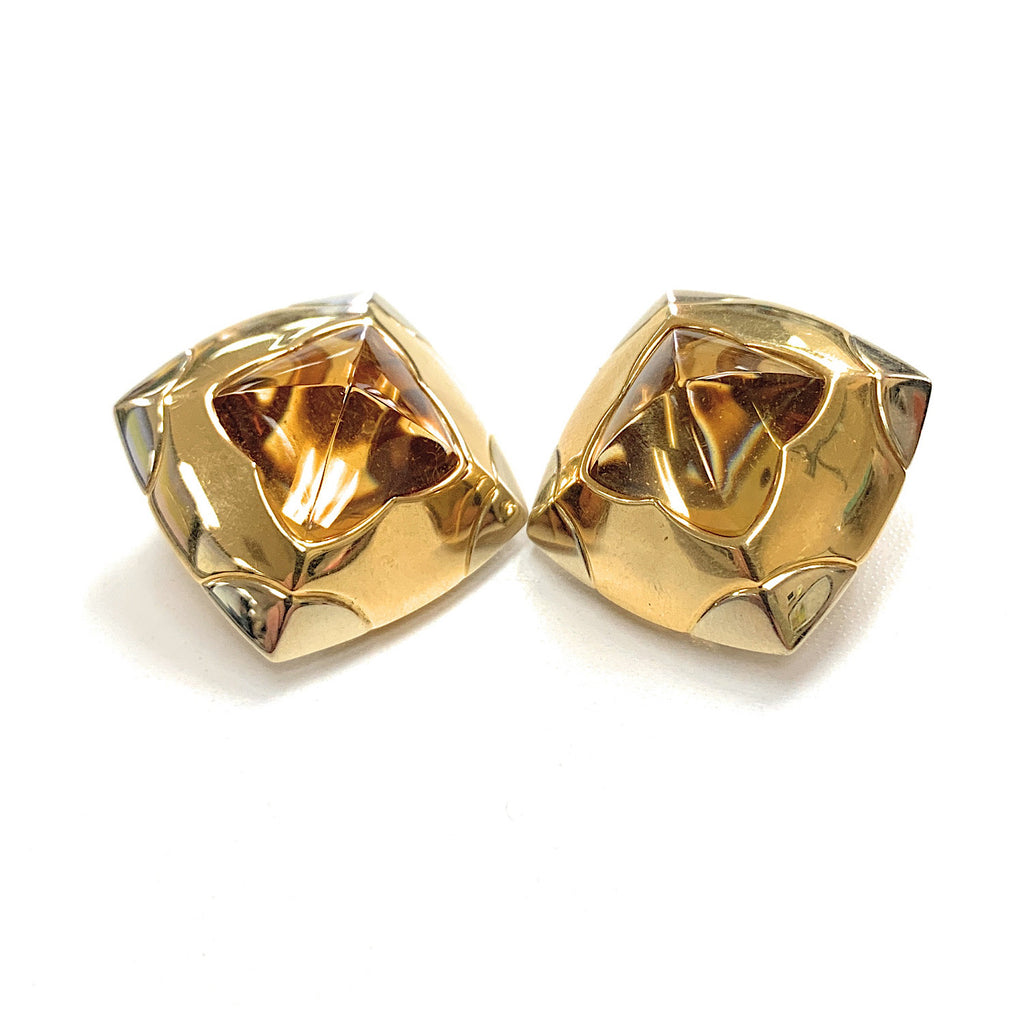 Vintage BVLGARI 18K Yellow Gold & Citrine Pyramid Earrings - Clip On