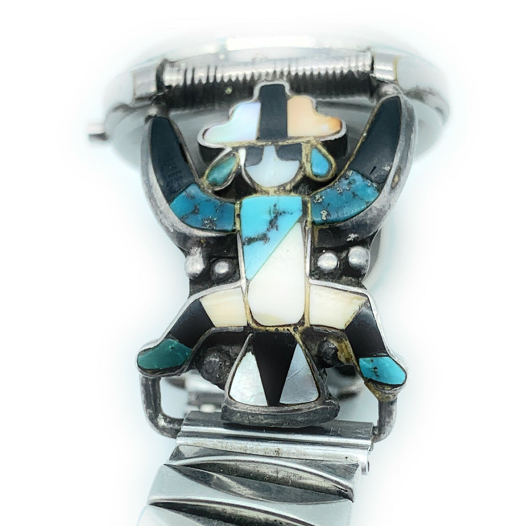 Vintage 1970's Zuni Sterling Silver Kachina Multi Stone Inlay Watch Tips