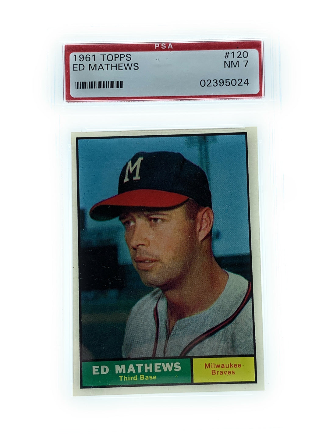 1961 Topps #120 Ed Mathews Baseball Card Graded NM 7 - Near Mint