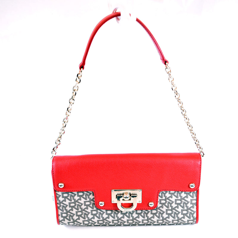 DKNY Red Monogram Clutch Shoulder Bag Purse