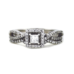 14K White Gold Princess Cut Halo Engagement Ring - 0.75ctw