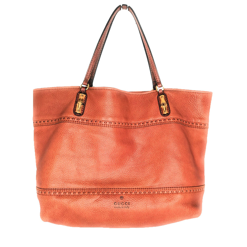 Gucci Orange Leather Laidback Crafty Tote Bag