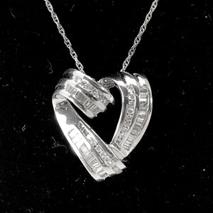 Channel Set Diamond Heart Pendant in 14K White Gold