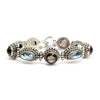 Sterling Silver Smoky and Blue Quartz Toggle Bracelet