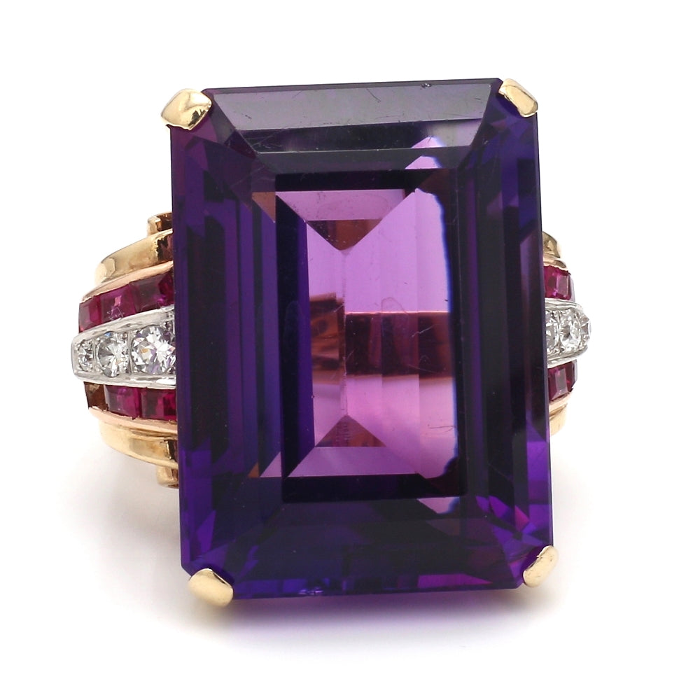1940's 14K Two Tone & Platinum Amethyst, Diamond, & Ruby Cocktail Ring - Sz. 5