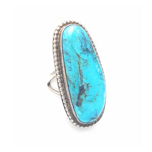 Native American Split Shank Turquoise Ring SZ 6 1/2
