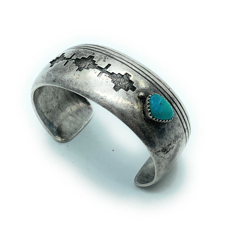 Vintage 1970's Navajo Sterling Silver & Turquoise Wide Cuff Bracelet