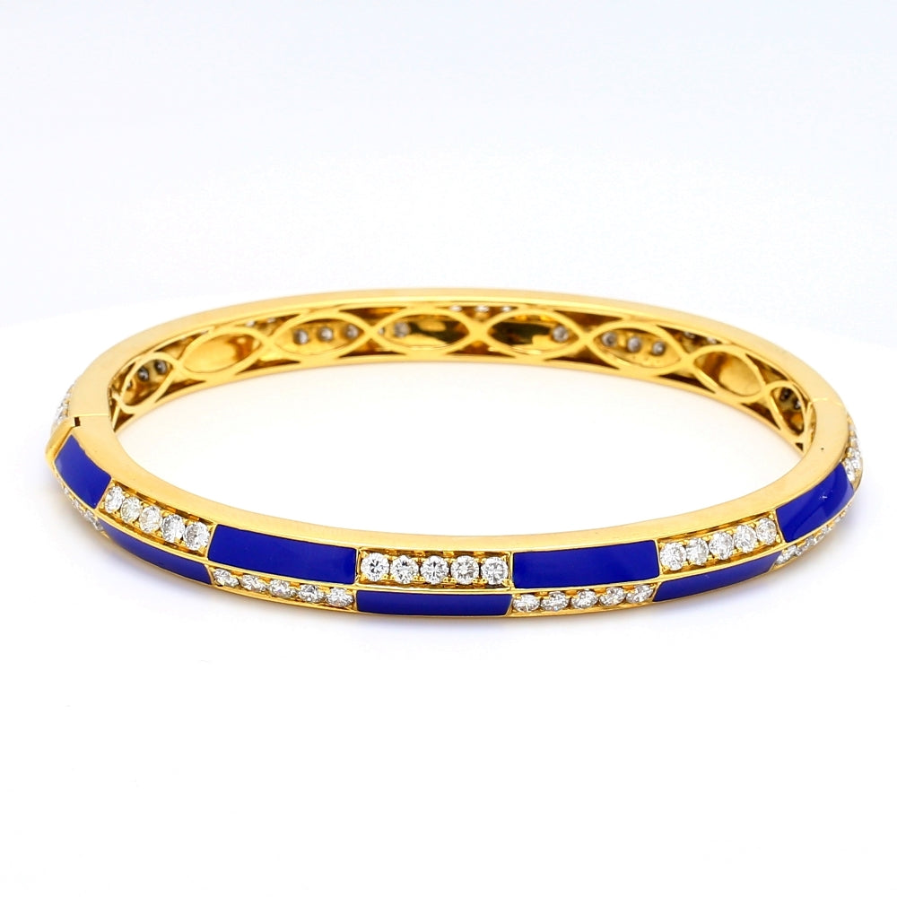 18K Yellow Gold 4.60ctw Diamond & Enamel Hinged Bangle Bracelet