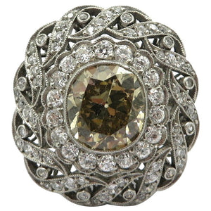 Victorian Style Platinum Old Mine Cut Fancy Light Brown Diamond Ring, Size 6.5