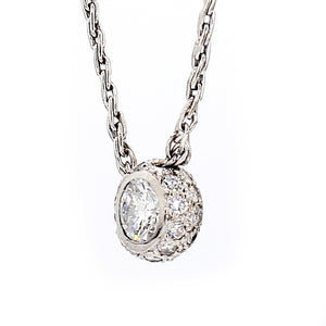 14K White Gold 0.84ctw Diamond Pendant Necklace