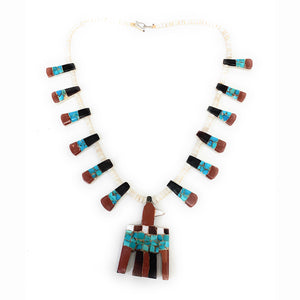 Rare! Vintage Santo Domingo Thunderbird Inlaid Tab Necklace