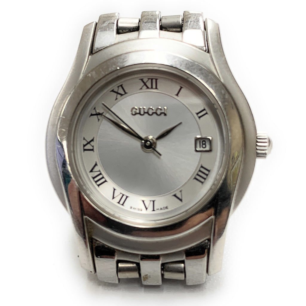 GUCCI Silver 5500L Stainless Steel Date Ladies Watch