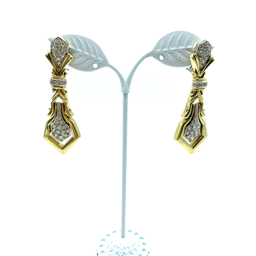 18K Two- Tone Gold Diamond Dangle Earrings