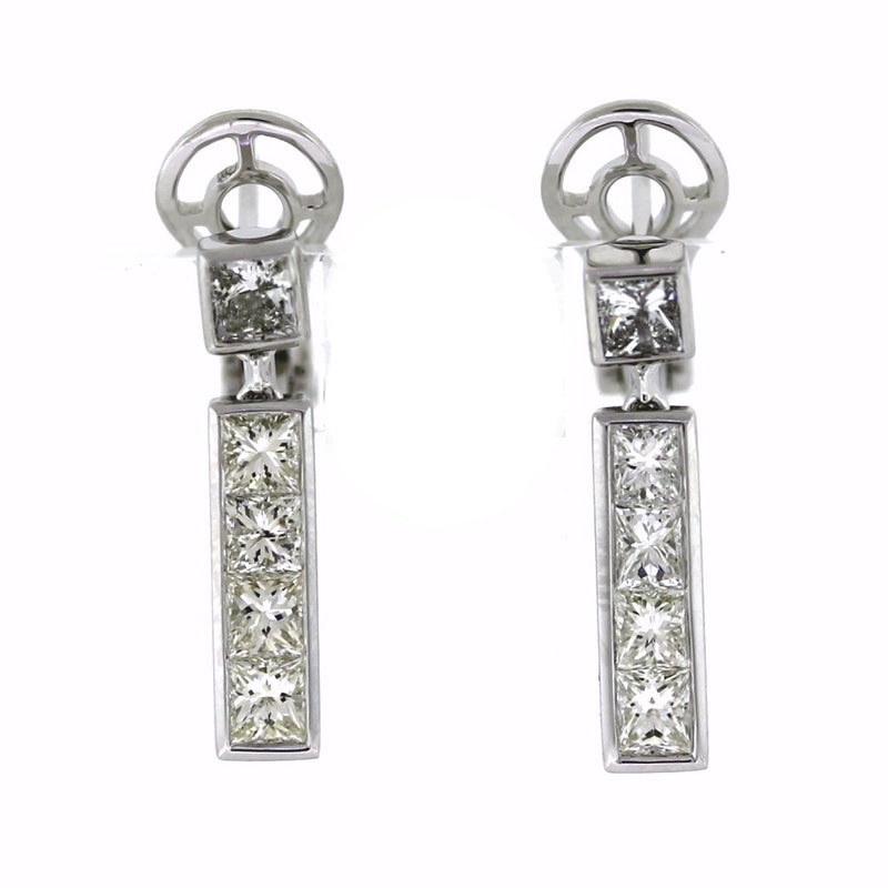 18K White Gold Diamond Rectangle Dangling Bar Earrings (1.81ctw)