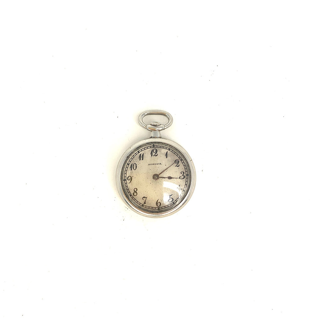 Agassiz Platinum Diamond Monogram Pocket Watch Pendant