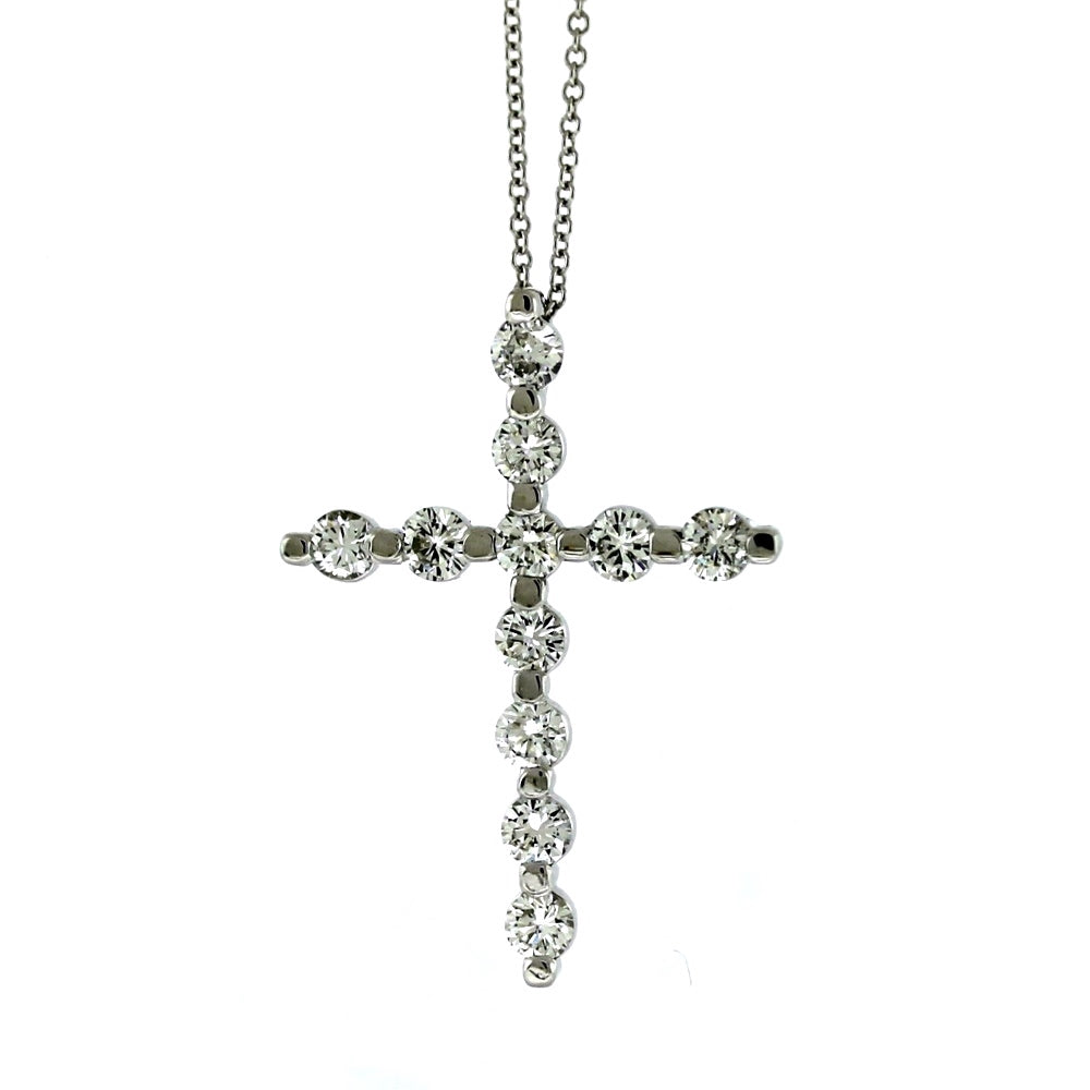14K White Gold & 1.27ctw Diamond Crucifix Pendant and Necklace