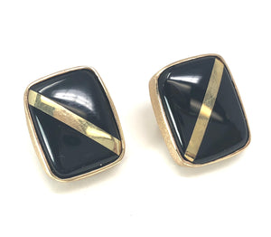 14K Yellow Gold and Onyx Inlay Rectangular Earrings