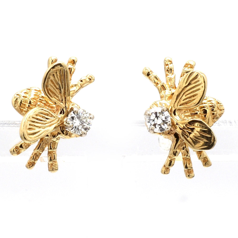 14K Yellow Gold & Diamond 'Bee' Post Earrings