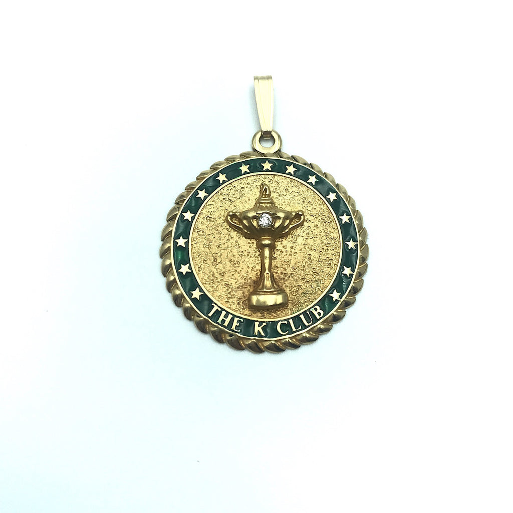 2006 Ryder Cup, The K Club 14K Gold W/ Emerald Green and Diamond Pendant