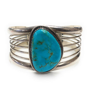 Vintage 1960's Navajo Sterling Silver Royston Turquoise Quad-Shank Cuff Bracelet