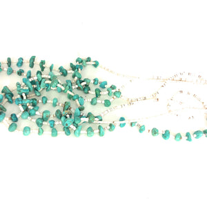 Multi Strand Native American Turquoise Nugget Shell Heishi Necklace