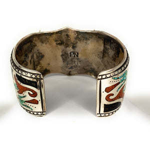 Vintage Zuni Sterling Silver Turquoise Red Coral Micro Inlay Watch Cuff Bracelet