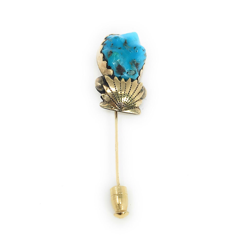 Native American 14K Yellow Gold Turquoise Nugget Pin Brooch