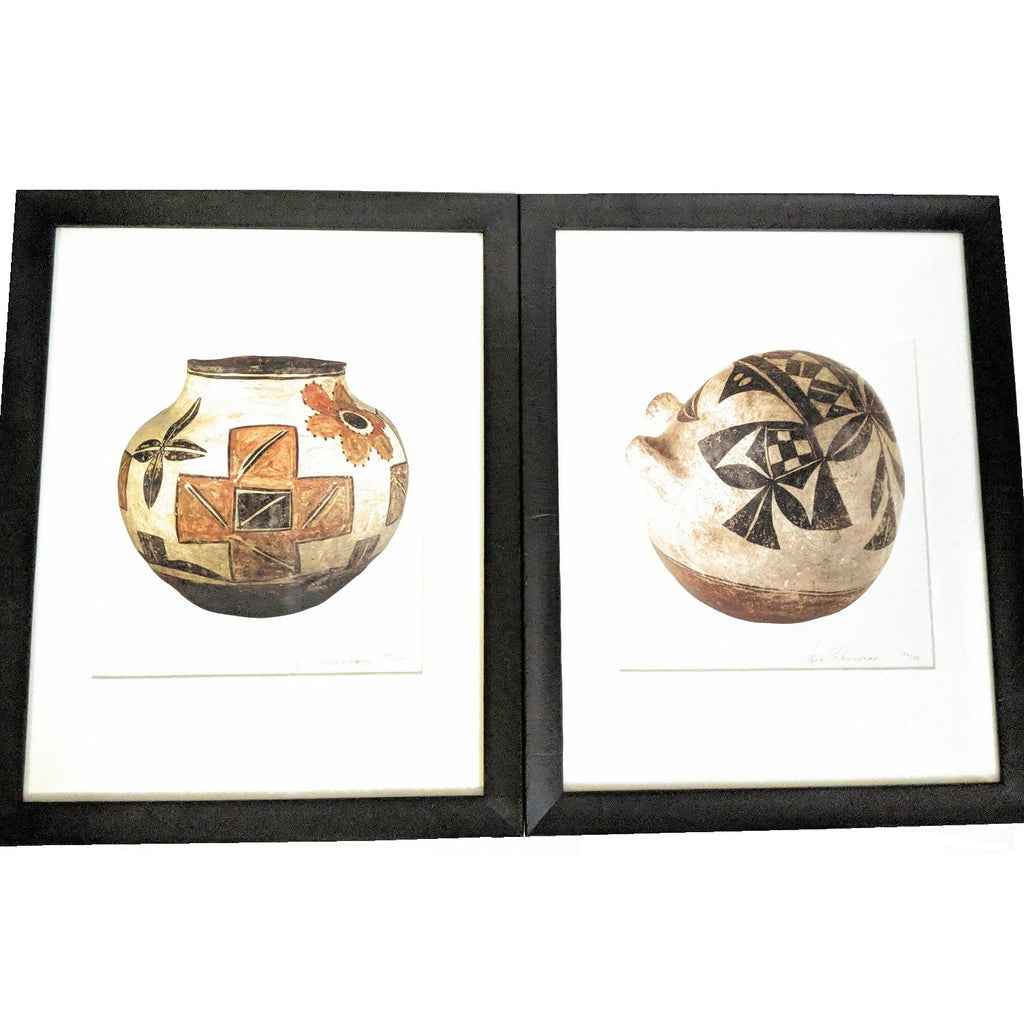 Set of 2 Framed Pueblo Pottery Serigraph Prints by Jack Silverman