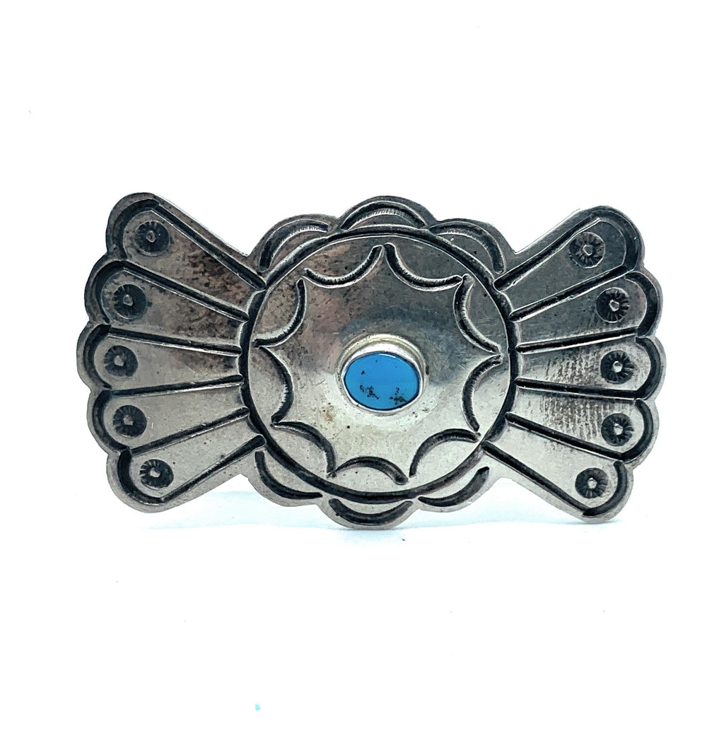 Vintage Old Pawn Navajo Sterling Silver & Turquoise Bowtie Concho Brooch