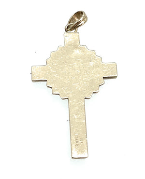 Vintage Esemco 1940's 10K Yellow Gold & Enamel Inlay Crucifix Pendant
