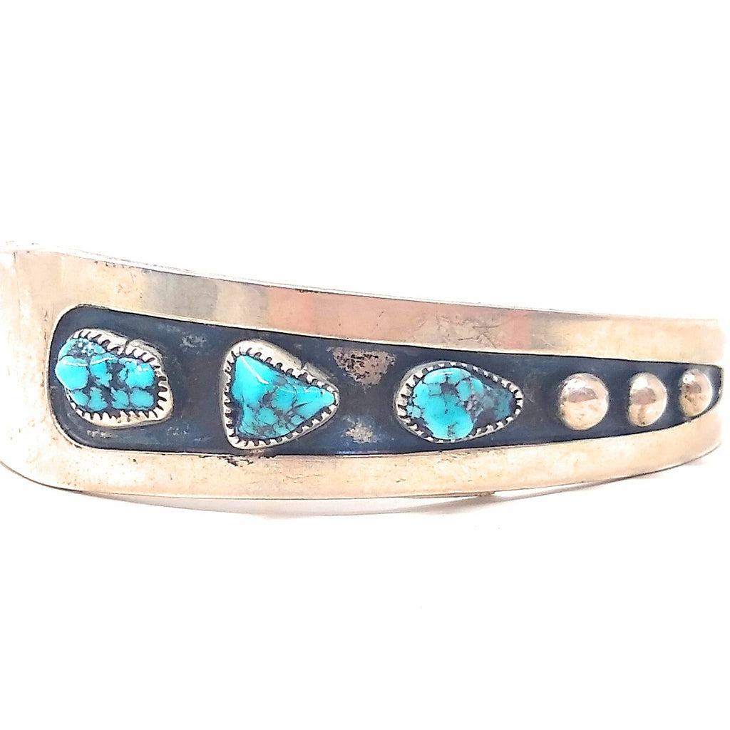 Raw Sleeping Beauty Turquoise Nugget Sterling Silver modern Architectural Cuff Bracelet