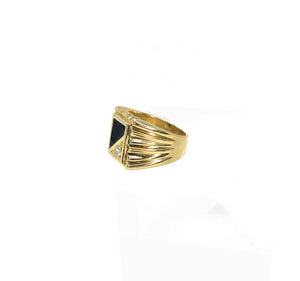 14K Yellow Gold Onyx & Diamond Ring - 0.18ctw