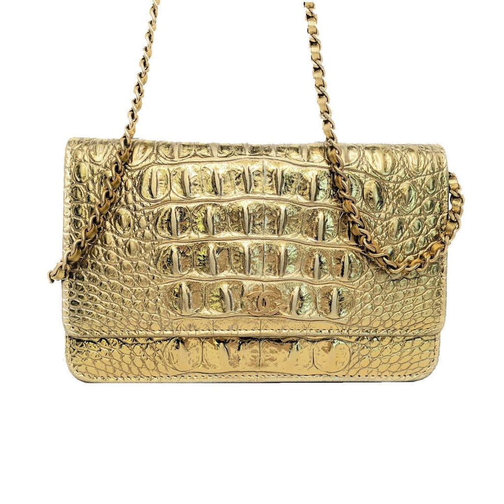 Chanel Metallic Croc Embossed Calfskin Wallet On Chain WOC
