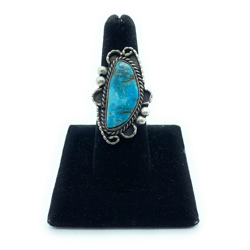 Vintage 1950's Navajo Split Shank Sterling Silver Turquoise Ring - Sz. 7