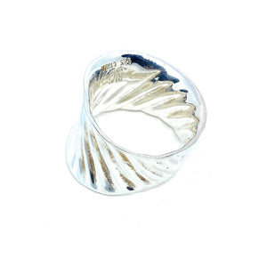 RIM Studio Sterling Silver Rippled Wide Band Ring Size 8